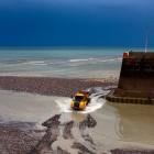 Hafenbecken wir ausgebaggert in Saint Valery, Normandie