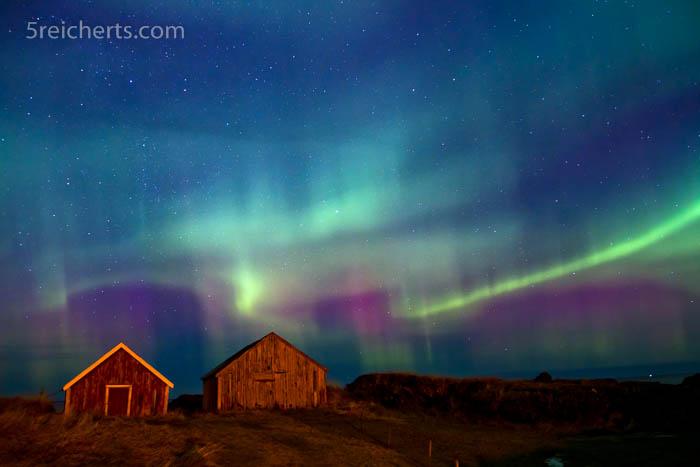 rot-grünes Nordlicht, Lofoten