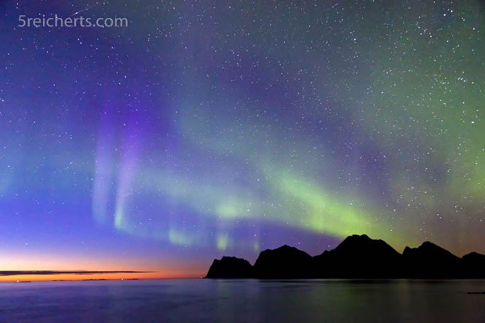Nordlicht und Sonnenuntergang, September, Lofoten