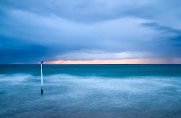 blaue Stunde, Erquy, Bretagne, Frankreich