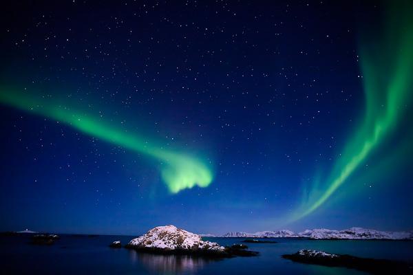 Elvis blick herab - seht Ihr es:-) Nordlicht, Vesteralen, Norwegen