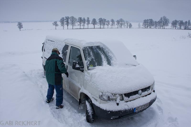 vor jeder Fahrt, entweder Schnee oder Eis..