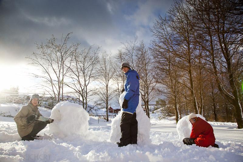 Starten nach dem ersten heftigen Schnees des Tages...