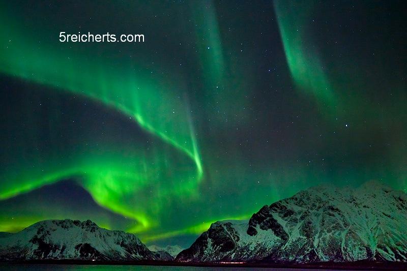starkes Nordlicht, Lofotem Norwegen