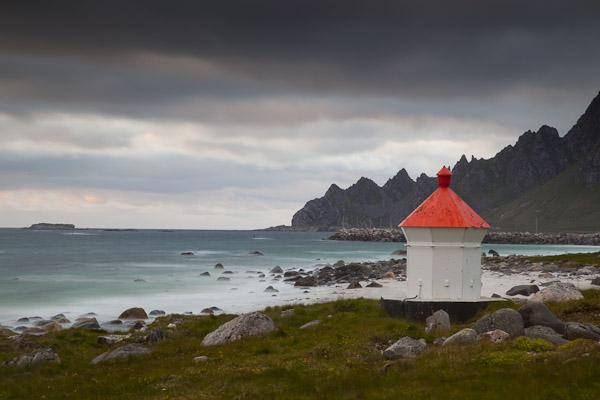 Leuchtturm in Bleik, Vesteralen, Norwegen