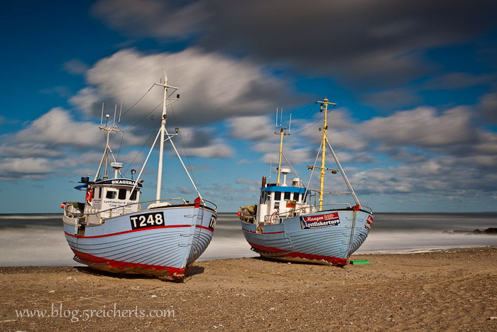 Langzeitaufnahme der Boote am Strand