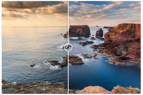 Langzeitfotografie an der Meeresküste