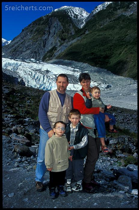 Unsere Famlie am Fox Gletscher