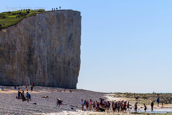 Dimensionen! Menschen vor der Steilküste, England
