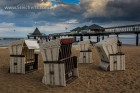 Strandkörbe und dunkle Wolken in Heringsdorf, Insel Usedom