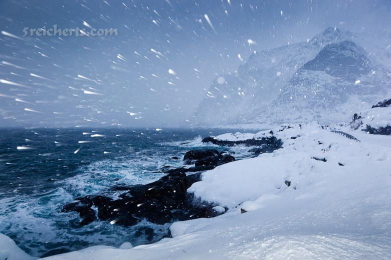 Schneesturm, Lofoten