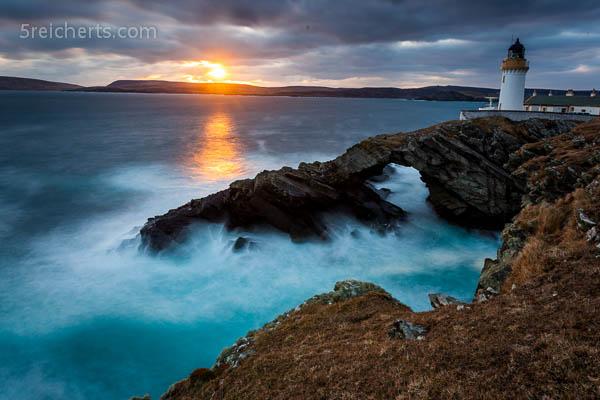 gleichs Stelle, Bressay Lighthouse am Abend