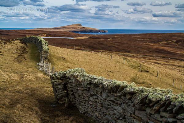 typische Mauer und Landschaft, Bressay