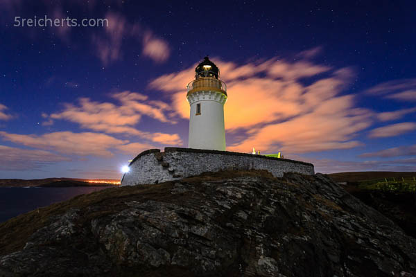 bunte Wolken, Lerwick in der Ferne, Bressay Lighthouse, Shetland