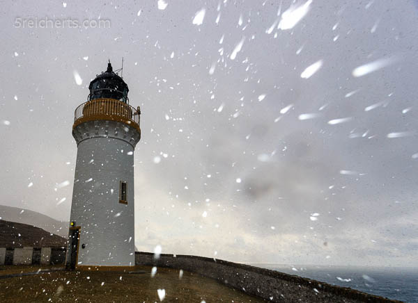 Bressay Lighthouse im Schneesturm