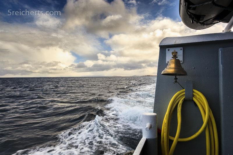 Wolken über dem Meer, Bootsfahrt mit der Dunter III, Shetland