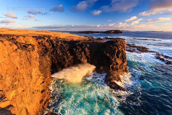 Das Blowhole am Abend, Eshaness, Shetland