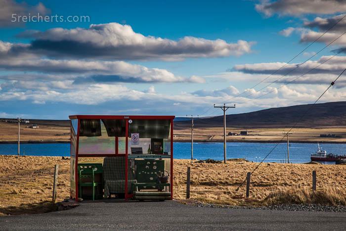 Bushaltestelle in Unst, Shetland