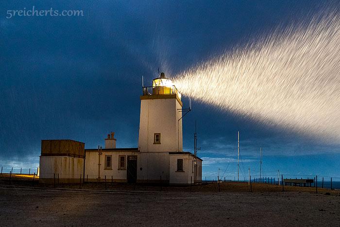 Schneesturm am Eshaness Leuchtturm, Shetland