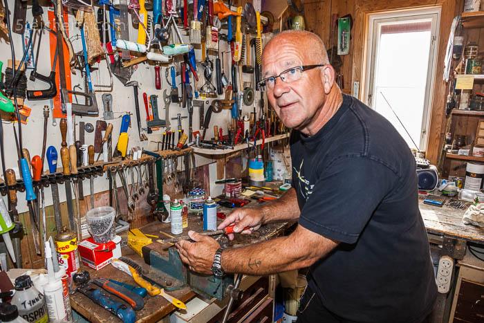 Rolf in der Werkstatt