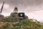 Windiger Tag auf der Leuchtturm Insel Litløy Fyr