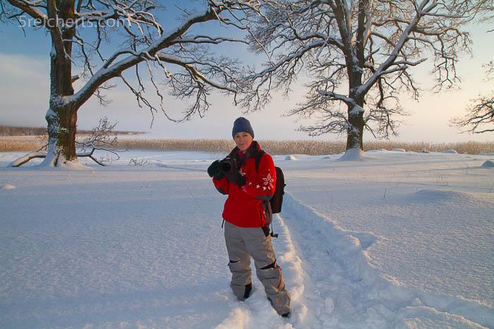 Skihose und Winterjacke, Gabi im hohen Schnee
