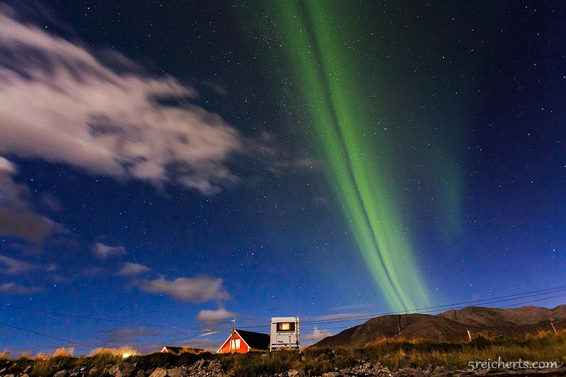 Unser Wohnmobil unter dem Nordlicht