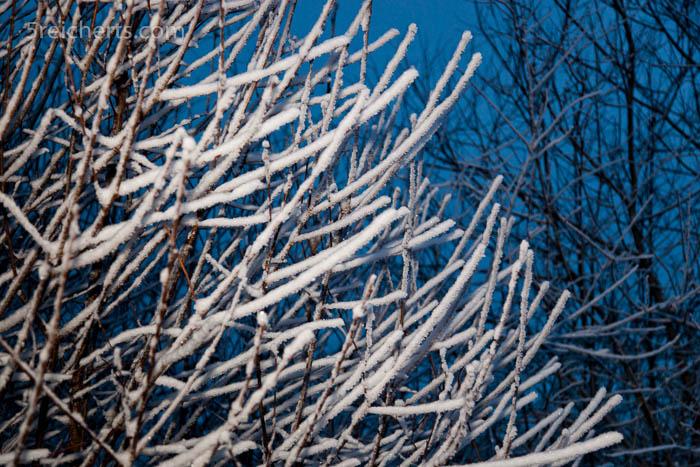 Hellt man mit dem Blitz etwas auf, wir das vorherrschende Blau der winterlichen Landschaft so richtig deutlich