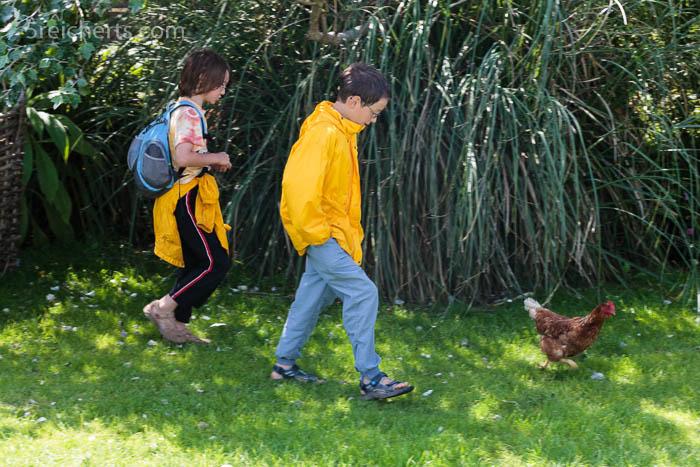 Hüher und Kinder auf dem Campingplatz