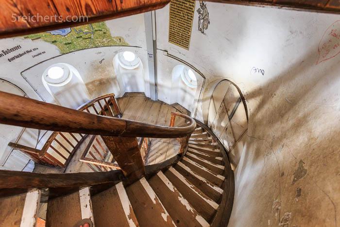 Holztreppe des Lindauer Leuchtturms