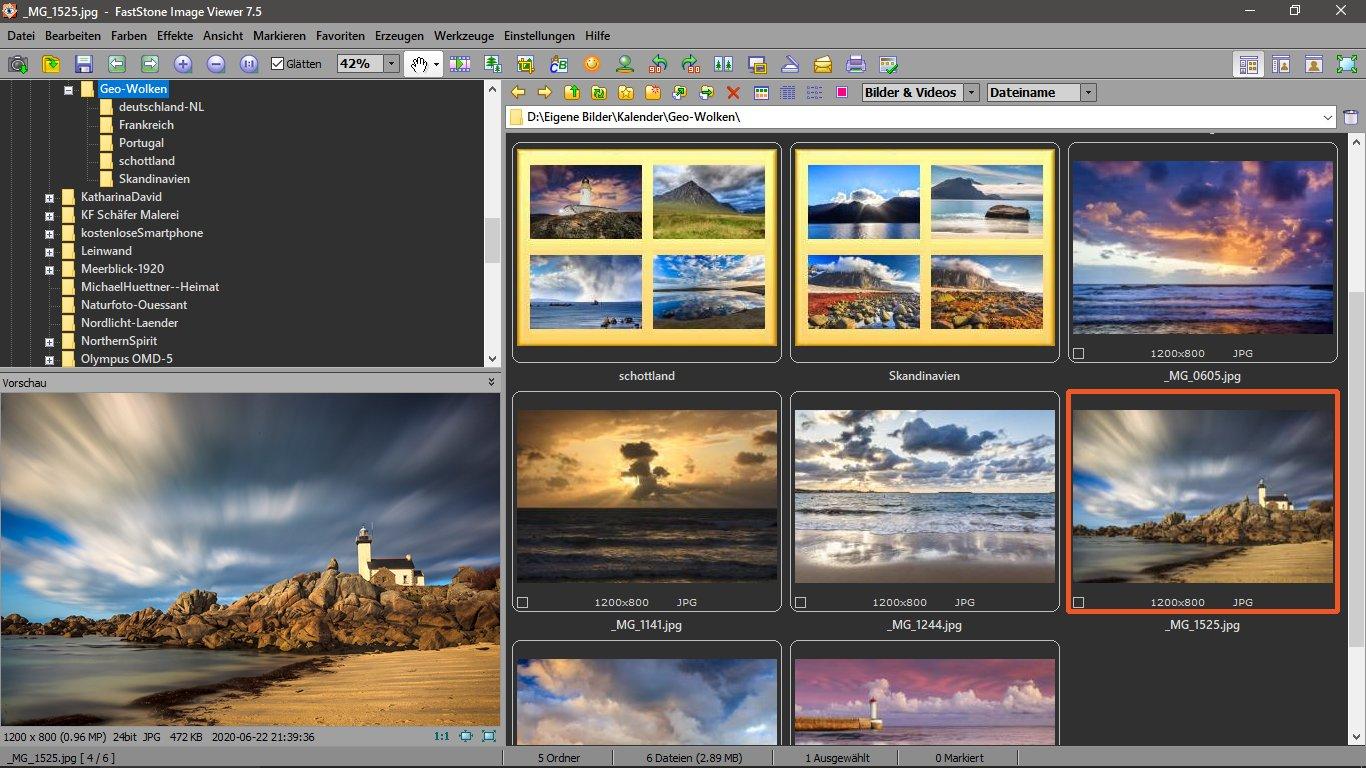 Standard-Ansicht des Faststone Image Viewers