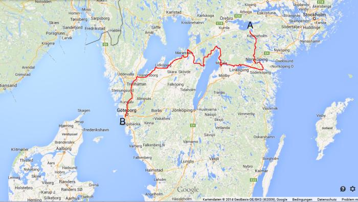 Auf dieser Rourte sind wir in Schweden von A nach B gekommen. insgesamt etwa 800km.