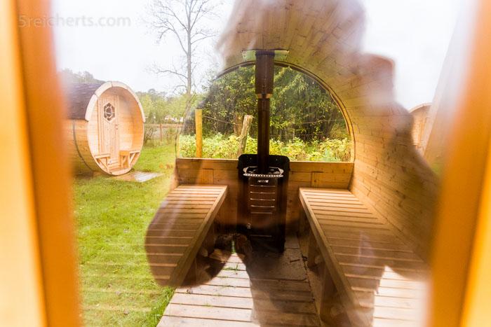 Blick durch die Türglasscheibe in die Sauna