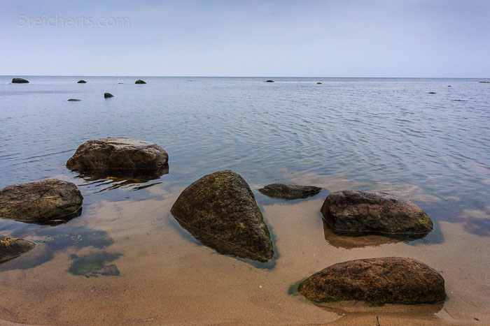 Wie müde Schildkröten liegen die Steine im seichten Wasser