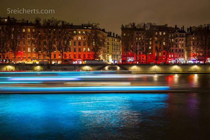 Schiffsverkehr in Lyon, Langzeitfotografie in der Stadt