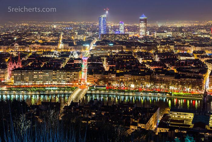 Blick über Lyon, Lichterfest im Dezember