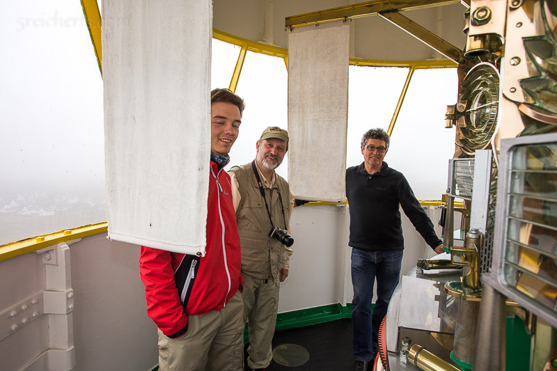 Gunter und Esra mit Leuchtturmwärter im Grand Phare
