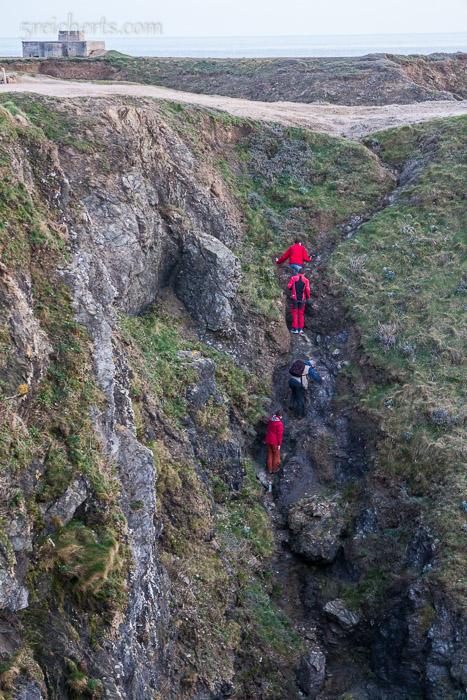 Auf dem Rücgweg nach oben - siehst Du, wie steil das ist?