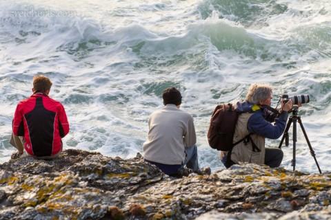 Gabi, Esra und Noah am Pointe de Poulains