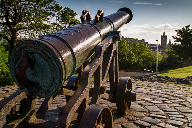 Kanone auf dem Carlton Hill, Edinburgh