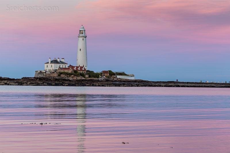 klassischer Sonnenuntergang und St Mary's Leuchtturm