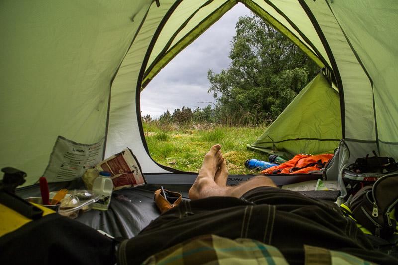 Ich hatte ein Zwei-Mann-Zelt gewählt, um noch gemütlich meine komplette Ausrüstung mit hinein nehmen zu können