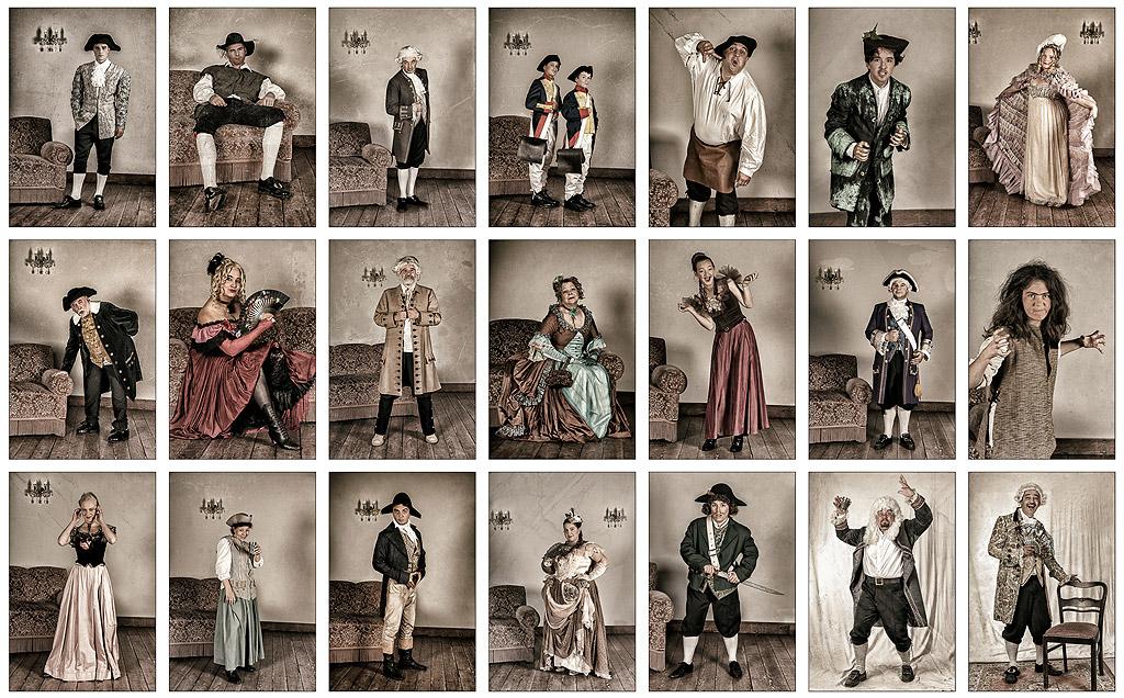 Alle Schauspieler in ihren Kostümen