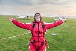 Amy nach dem Tandemsprung über Texel