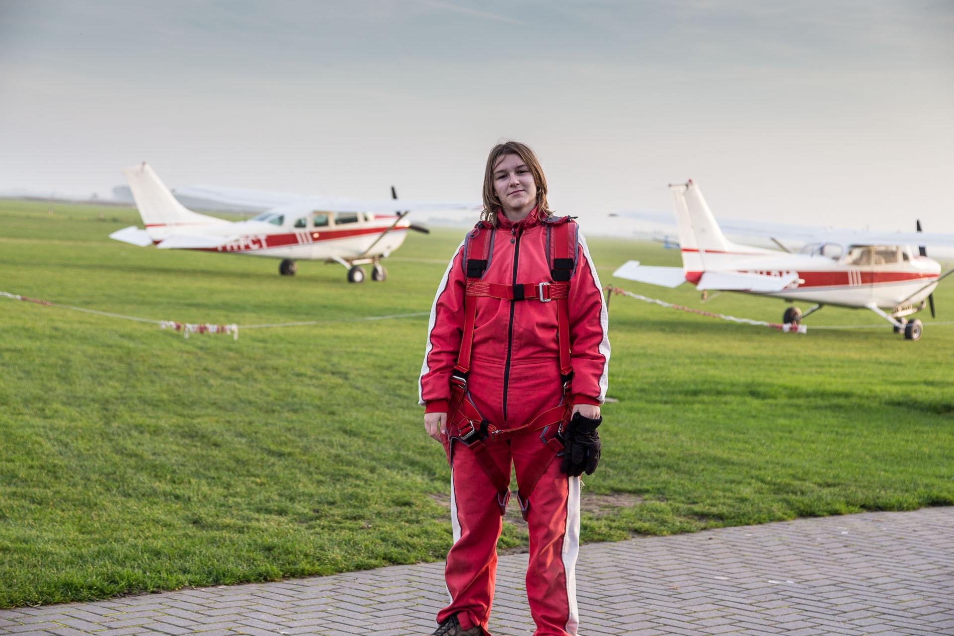 Amy vor dem Tandemsprung über Texel