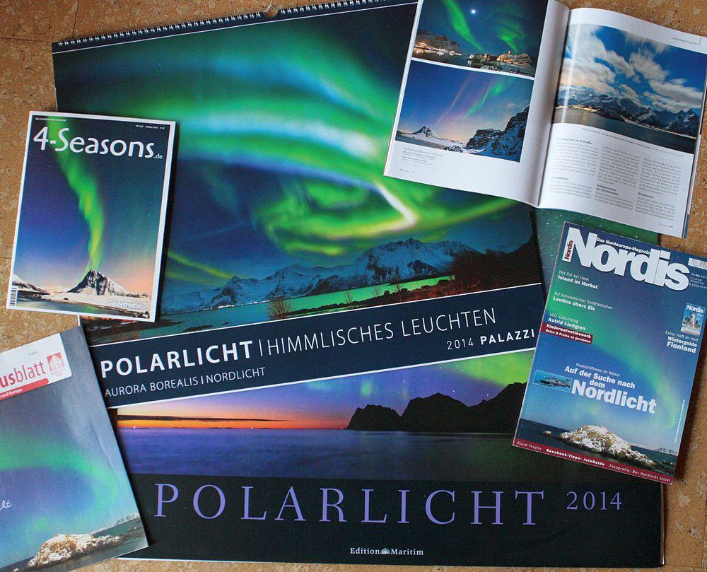 Nordlichtfotos auf Kalendern und in Magazinen