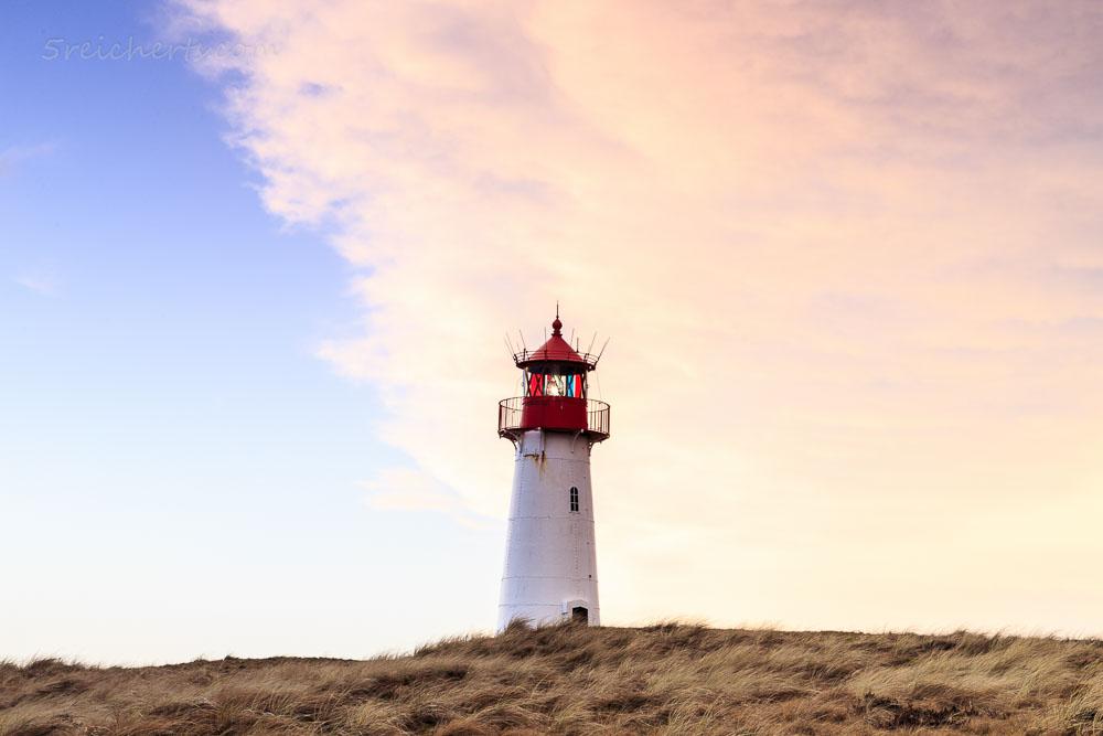 Sonnenuntergang am Leuchtturm List West, Sylt