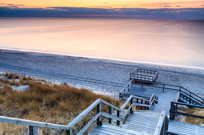 Holztreppe zum Strand, Sylt