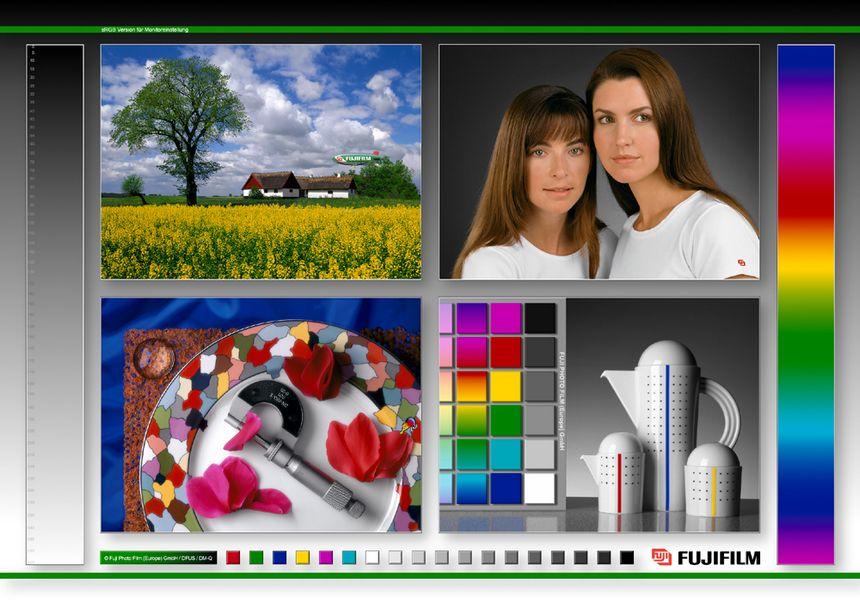 Testbild von FUJIFILM für die Kalibrierung des sRGB-Monitorfarbraums. © FUJI Photo Film GmbH Europe