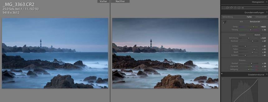 Nach Sonnenuntergang war die bretonische Küste in kräftiges Blau getaucht. Den Blaustich haben wir neutralisiert, was mehr Farben ins Bild bringt, und der Kontrast wurde angehoben.